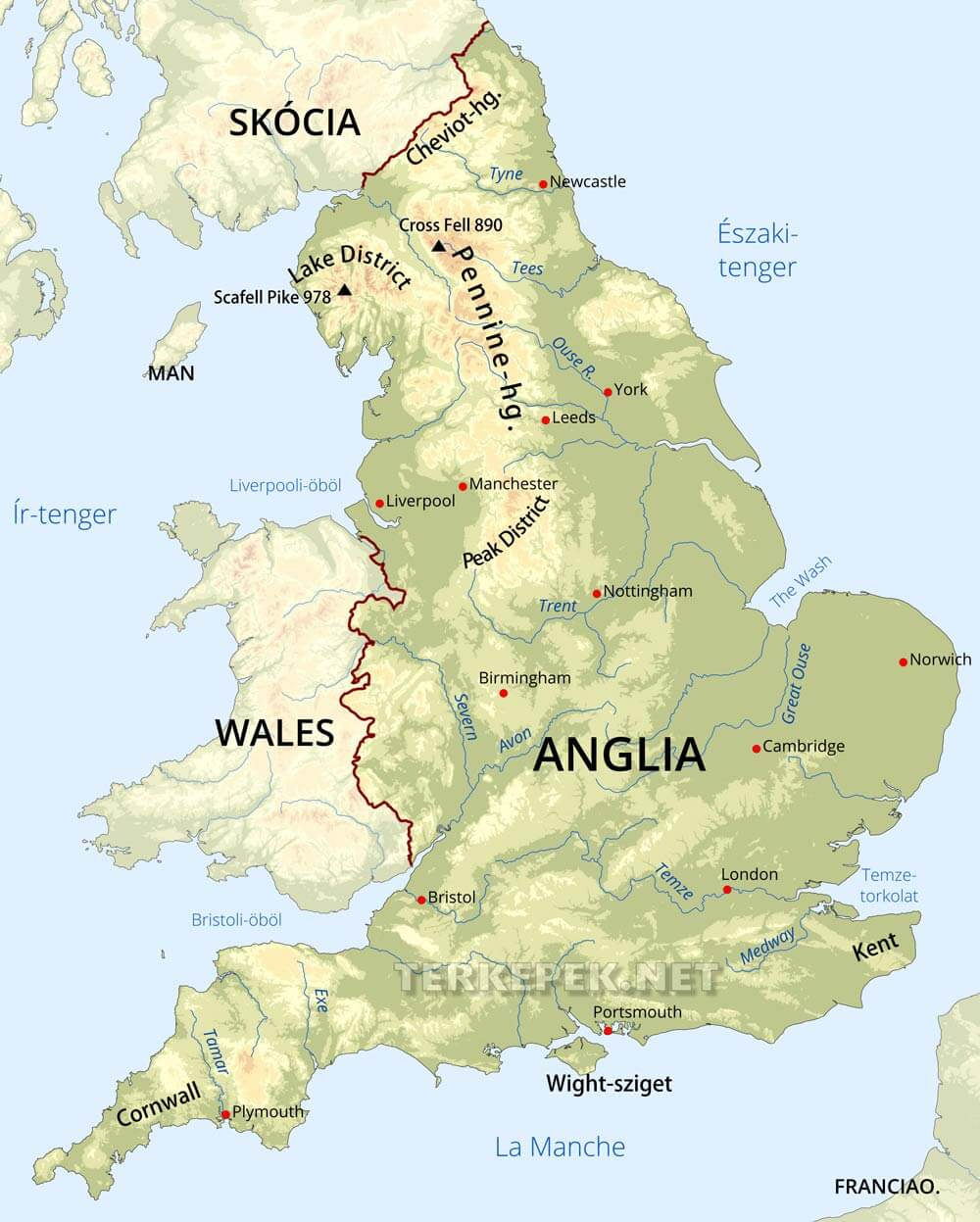 térkép anglia Anglia domborzati térképe térkép anglia